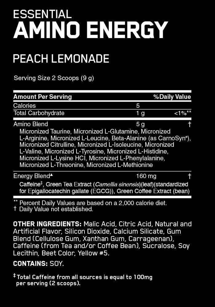 OPTIMUM NUTRITION ESSENTIAL AMINO ENERGY – PEACH LEMONADE -